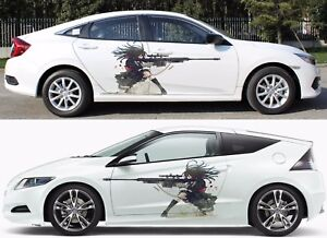Anime Gun Girl Manga Car Doors Graphics Vinyl Stickers Decal Fit Any Auto