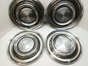 1958 Pontiac Hub Caps 14 Set Of 4 Wheel Covers Hubcaps Vintage Rat Rod 58