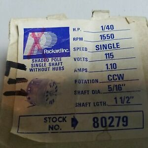 Packard Electric 80279 Shade Pole Motor 1550 Rpm Single Speed 115v 1 10 Amp