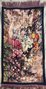 Unusual Hand Made Antique Wool Tapestry French Pierrot 17th Century Asian Scene