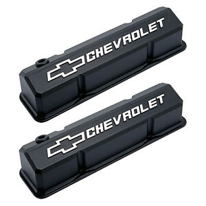 Gm 141 921 Chevrolet Bowtie Slant Valve Covers Chevy Small Block Black