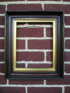 Antique Victorian Deep Wood Picture Frame 8 X 10 Gold Sight Black Trim New Wire