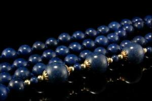 Vintage Chinese Lapis Beads Necklace D75 06