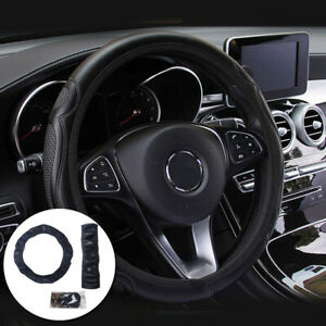 Black Car Steering Wheel Cover Quality Leather Breathable Anti Slip 15 38cm