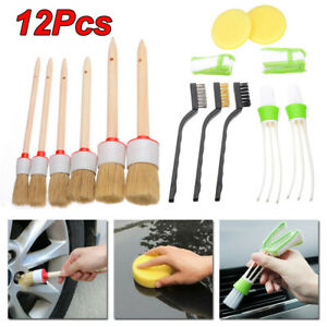 Car 12pcs Detailing Brush Kit Boar Hair Auto Interior Wheel Cleaning Tool Useful