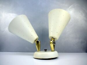Vtg Mid Century White Conical Ceiling Light Atomic Perforated Mategot Era Lamp