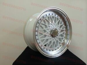 Set Of Four 15 White Machine Lip Rs Style Rims Wheels Fits 4x100