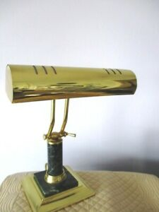 Vintage Faux Green Marble Brass Mid Century Bankers Tole Table Desk Lamp Light