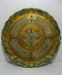 Vintage Italian Florentine Toleware Tray Turquoise Red Gold 11 25