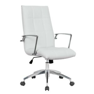 Leisuremod Benmar Modern Leatherette Executive Swivel Office Chair In White