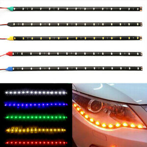4pcs 30cm Car Led Strip Light Flexible 15smd 12v Drl Fog Light Yellow Light