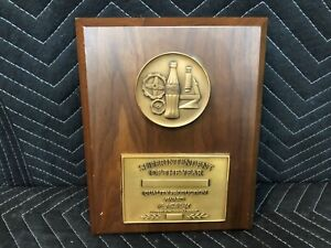 Coca Cola Superintendent of the Year Award Plaque Vintage Coke Executive Sign