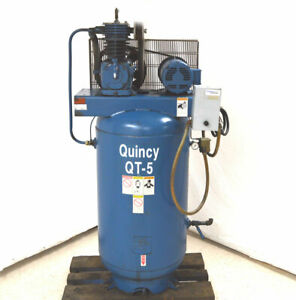 Quincy Qt 5 5 hp 3 ph 80 gal Air Compressor 150933 633 208 230v Vertical