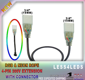 110v Led Extension Cables Wires Rgb Strip Neon Rope 4 Prong Plugs Connector