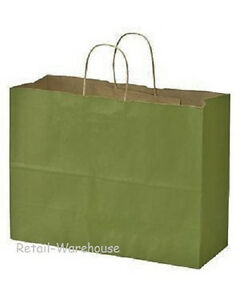 Paper Bags 100 Large Rain Green Gift Retail Merchandise Shopping 16 X 6 X 12