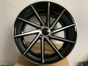 Four 19 Black Machine Swirl Style Rims Fits Staggered Honda Civic Accord 5x114