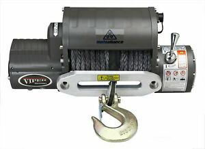 Viper Winch 12000lb Black Synthetic Rope And Hawse Integrated Contactor Solen