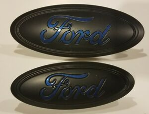 2017 19 Ford Escape Custom Painted Matte Black Flame Blue Logo Emblem Set
