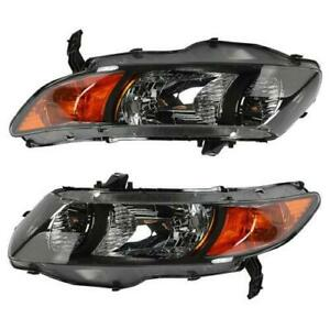 Headlights Headlamps Lh rh For 2006 2011 Honda Civic 2 Door Coupe Black Housing