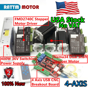 Us 4 Axis Nema23 Dual Shaft Stepper Motor 425oz in 280ncm driver 4a Usb Cnc Kit