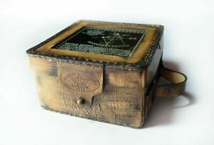 Antique Collectible Nautical Brass Working Kelvin Hughe Sextant W Leather Box