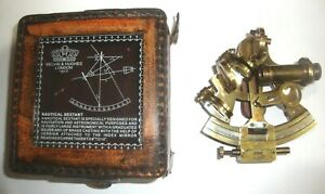 Antique Collectible Nautical Brass Working German Marine Sextant W Leather Box