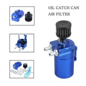 New Blue Cylinder Aluminum Engine Oil Catch Reservoir Breather Can Tank Filter