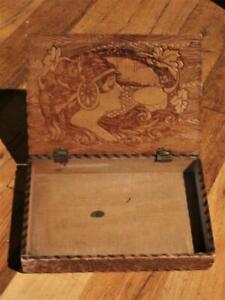 Art Nouveau Hand Crafted Wood Pyrographic Design Cigar Cigarette Box Pyrography