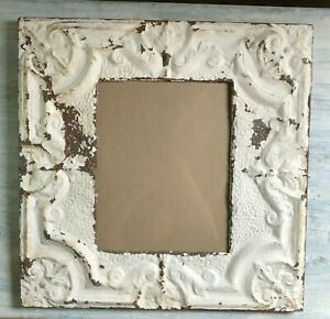 23 X 23 Antique Reclaimed Tin Ceiling Metal 11x14 Ivory Picture Frame 88 19