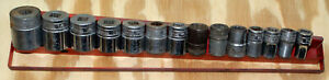 Snap on 1 2 Drive 14pc Sae Socket Set Used 3 Not Snap on W tray 7 16 1 1 4