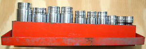 Snap on 3 8 Drive 10pc Sae Deep Socket Set Used W tray 3 8 7 8