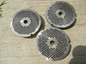 32 Meat Grinder Plate 1 8 Hole Heat Treated For Long Life Lot Of 3