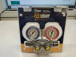 Yellow Jacket 49963 titan Manifold Only R22 404a 410a Red blue Gauges