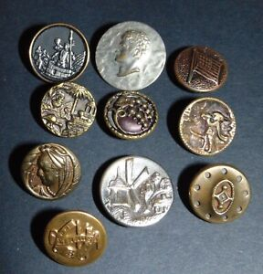 10 Small Antique Picture Buttons 5121