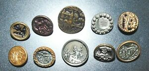 10 Small Victorian Metal Picture Buttons 5655