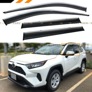 For 2019 2020 Toyota Rav4 Chrome Trim Clip on Window Visor Rain Guard Deflector