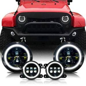 2007 17 For Jeep Wrangler Jk Halo Led Headlight Halo Led Fog Light Combo Kit