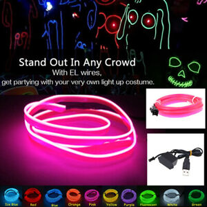 2m Pink Car Home Flexible El Wire Neon Glow Light Strip Tape 5v Usb Controller