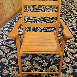 Vintage Child S Folding Wooden Deck Or Lawn Chair Solid Wood
