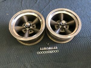 Vintage Pair 15x7 Real American Torque Thrust Polished Lip Chevy 5 On 4 3 4