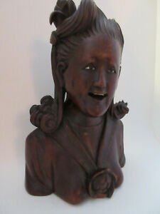 Chinese Carved Hardwood Immortal Statue Bust Of Lady