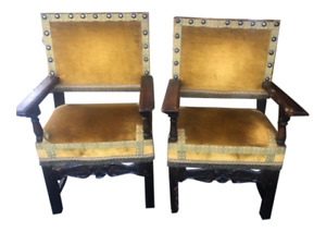 Pair Of Antique Spanish Carved And Upholstered Arm Chairs Yellow Fabric