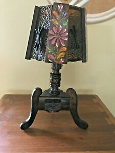 Vtg Monterey Lamp Spanish Revival Mission Amber Glass Iron Wood Tole Paint Ranch
