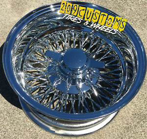 4 Wheels 13 Wire Wheels 72 Spokes 13x7 Reverse Chrome Lowrider Rims