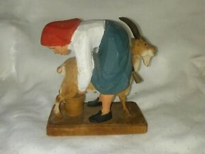 Hand Carved Wood Girl Milking Goat Figure Henning Made In Norway