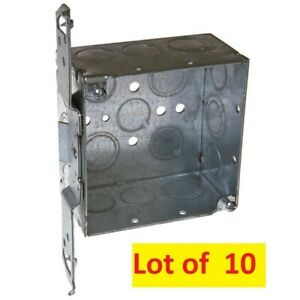 lot Of 10 Raco 8235 2 gang Metal New Work Square Ceiling wall Electric Box New