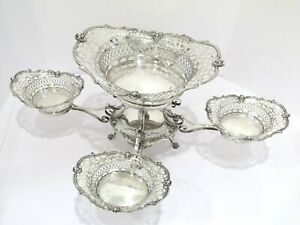 23 5 In Sterling Silver Antique English Birmingham Openwork 5 Oval Bowls Epergne