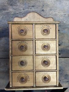Antique 8 Drawer Stenciled Spice Cabinet Box Cupboard Apothecary Wall Table