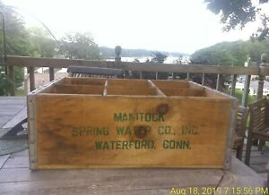 Rare Manitock Spring Water Co Inc Wooden Box Crate Waterford Conn Vintage Decor