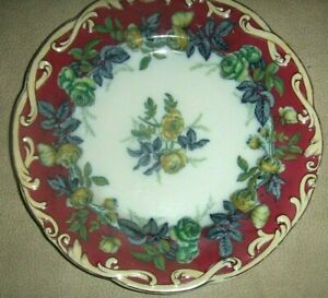 Stored Victorian Transferware Wine Color Edge Green Peonies 9 Plate 4 Avail